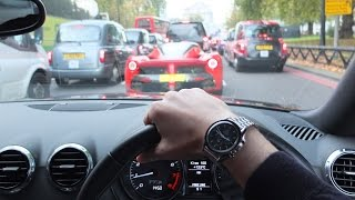 POV chasing loud LaFerrari through London