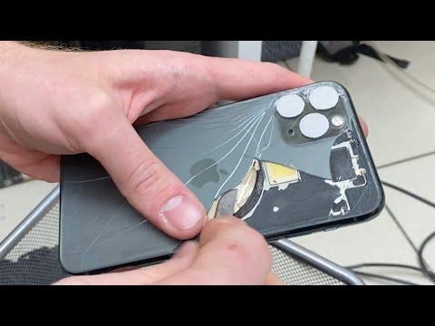 Замена заднего стекла IPhone 11 Pro БЕЗ РАЗБОРА. Ковыряем ножом!
