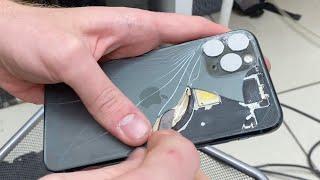 Замена заднего стекла iPhone 11 Pro БЕЗ РАЗБОРА. Ковыряем ножом! cмотреть видео онлайн бесплатно в высоком качестве - HDVIDEO
