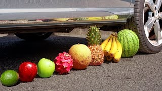 Crushing Crunchy & Soft Things by Car! - EXPERIMENT: CAR vs Tropical Fruit