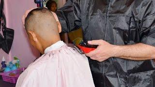 Woman long hair to military cut