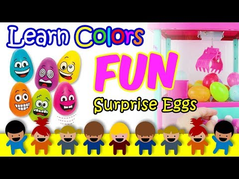 Surprise Eggs Videos For Kids, Learn Colors For Toddlers With Claw Machine, Preschool Nursery Rhymes