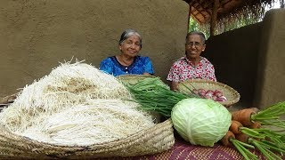 Download Veg Noodles Recipe ❤ Chilli Garlic Hakka Noodles prepared by Grandma and Mom | Village Life Mp3 and Videos