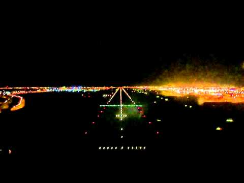NIght Approach and Landing RWY 12L Bahrain International Airport - Cockpit View
