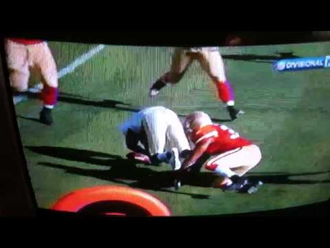 Pierre Thomas HELMET to HELMET (knocked unconscience)