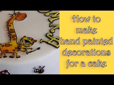 How to make hand painted decorations for a cake / Jak zrobić ręcznie malowane dekoracje na tort