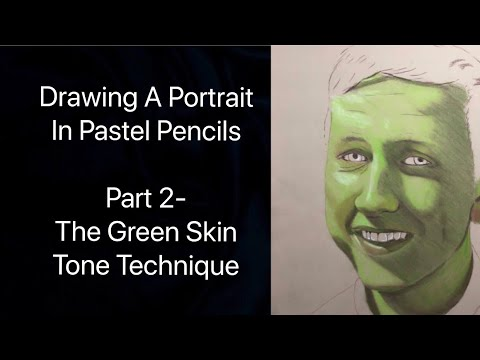 drawing a portrait in pastel pencils part 2 green skin tone youtube