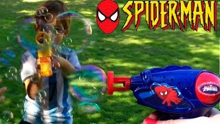 SPIDERMAN Bubble Gun Spider-Man Bubble Machine Bubbles Generator Bubble Playtime for Kids Toy Videos