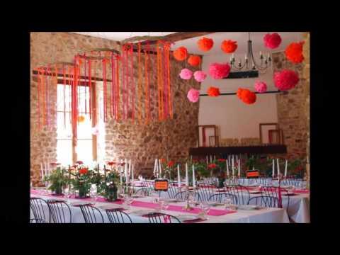 Décoration mariage - Fushia et Orange - YouTube
