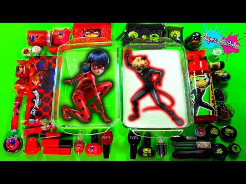 Mixing Slime Ladybug vs. Cat Noir (Red vs. Black)  - Supermanualidades