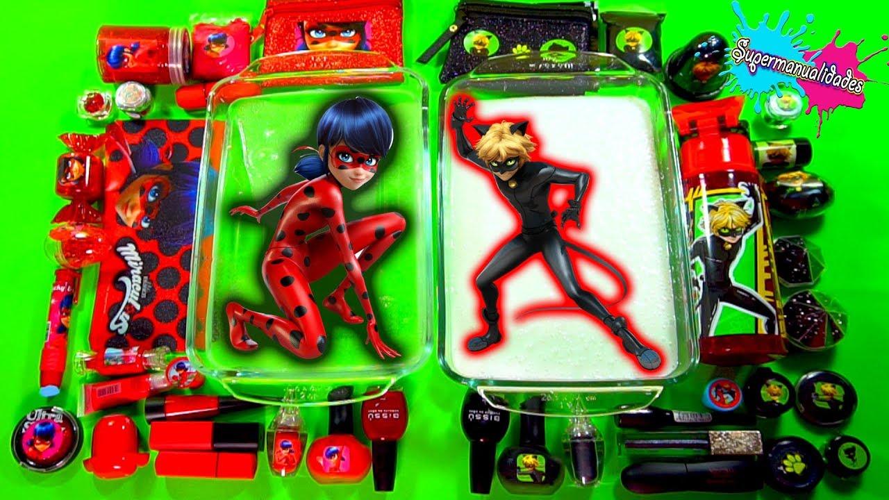 Download Mezclando Slime de Ladybug vs Cat Noir (Rojo vs negro) - Supermanualidades
