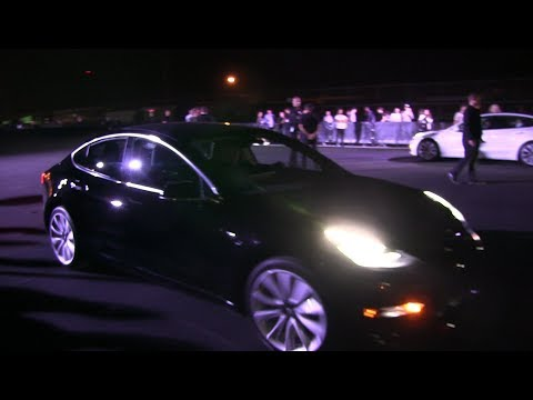 Tesla Model 3 production car test ride and meeting MKBHD