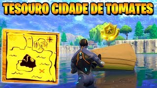 TREASURE MAP in the CITY OF TOMATOES-Fortnite challenges Week 1 (Battle pass 4)