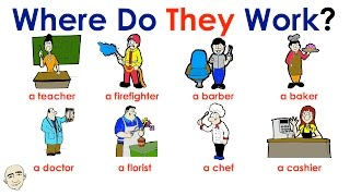 Where Do They Work? | People at Work | Easy English Conversation Practice | ESL/EFL
