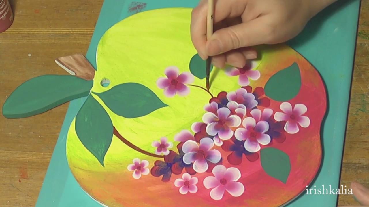 Роспись разделочной доски акриловыми красками, irishkalia