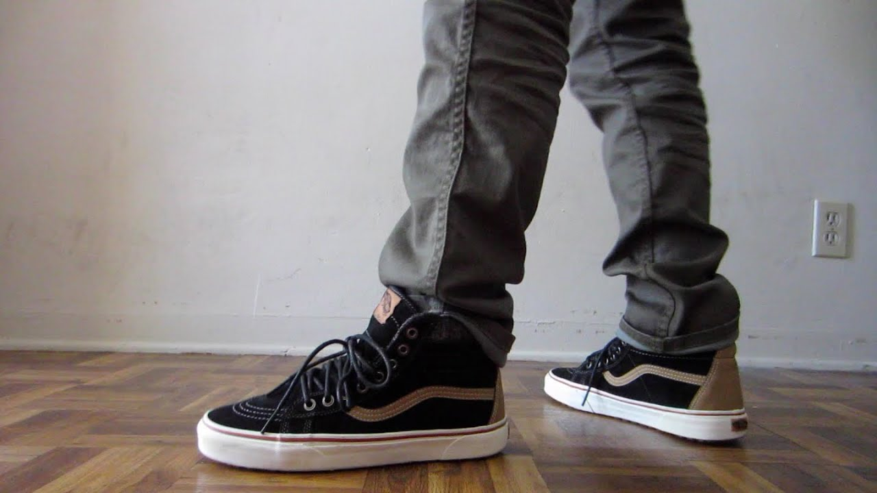 80f20e562b25 Vans Sk8 Hi Black MTE On feet - YouTube