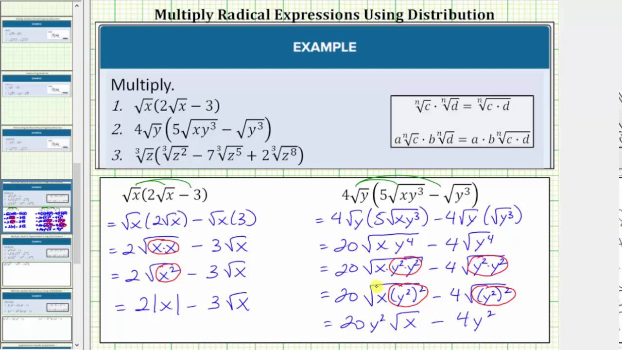 worksheet Multiplying Radical Expressions Worksheet multiplying radical expressions with variables using distribution youtube