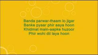 Banda parwar thaam lo jigar - Phir Wohi Dil Laya Hoon - Full Karaoke