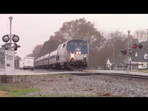 Amtrak P092-29 coming past Micro, NC w/vintage Crossing signals