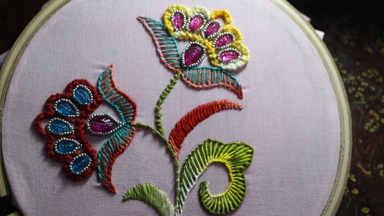 Hand embroidery designs bead stitch with double buttonhole hand embroidery designs bead stitch with double buttonhole stitch and flower 106 youtube bankloansurffo Images