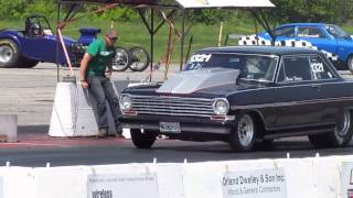 Chevy Nova Duece Rips A Wheelie @ The Drag Strip