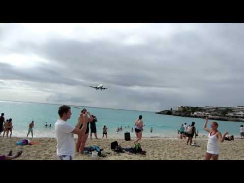 Close plane landing at Princess Julianna Airport on St. Maarten, Dutch Virgin Island 2/13/13