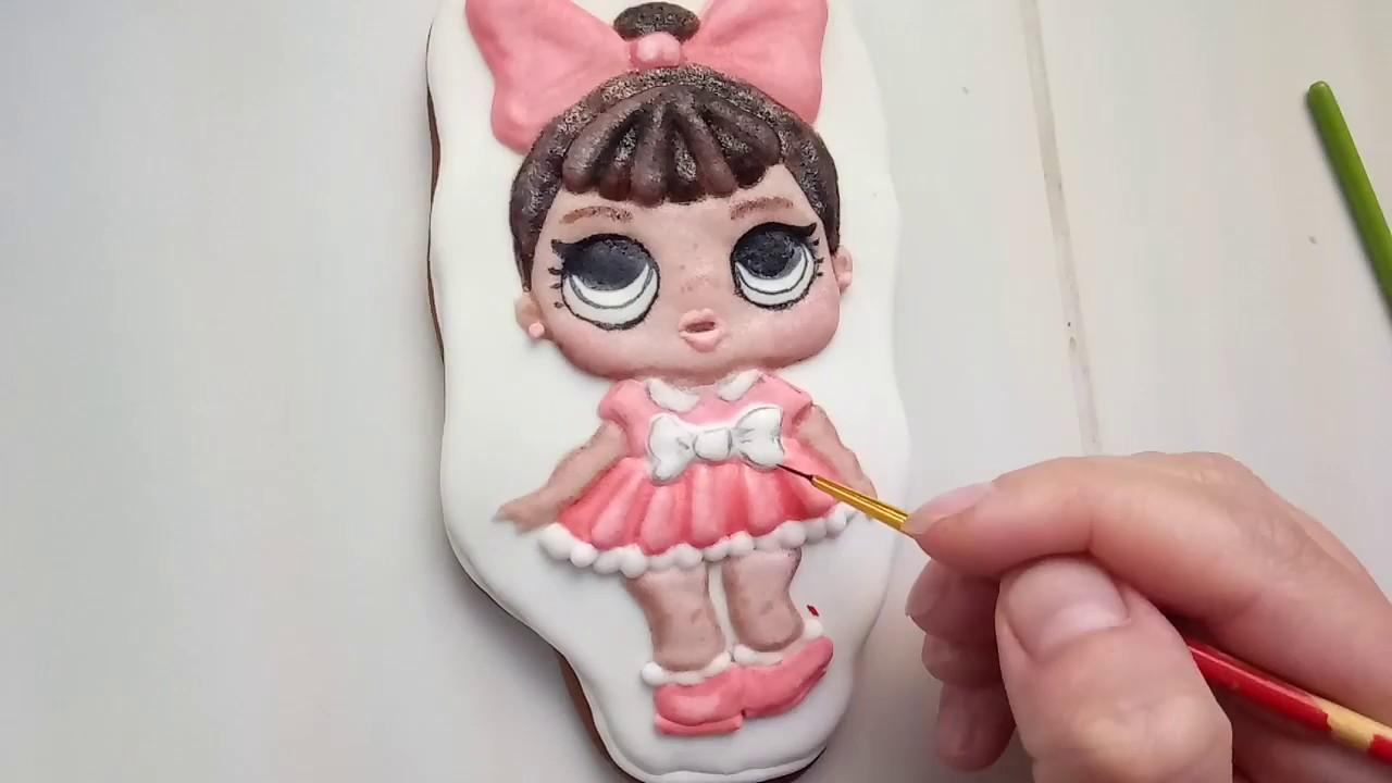 Сделать топпер на торт своими руками. МК. Куколка L.O.L. на прянике с помощью айсинга. (часть 2)