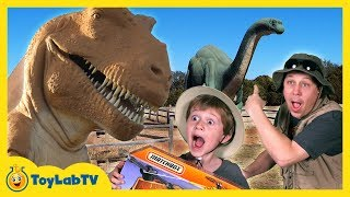 Life Size GIANT Dinosaur Theme Park with Dino Hunt & Matchbox Jurassic Copter Toy Opening Kids Video