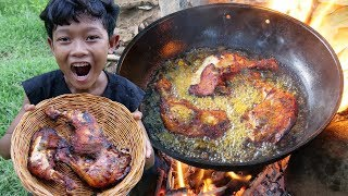 Survival Skills - Yummy cooking chicken and eating in forest Ep40
