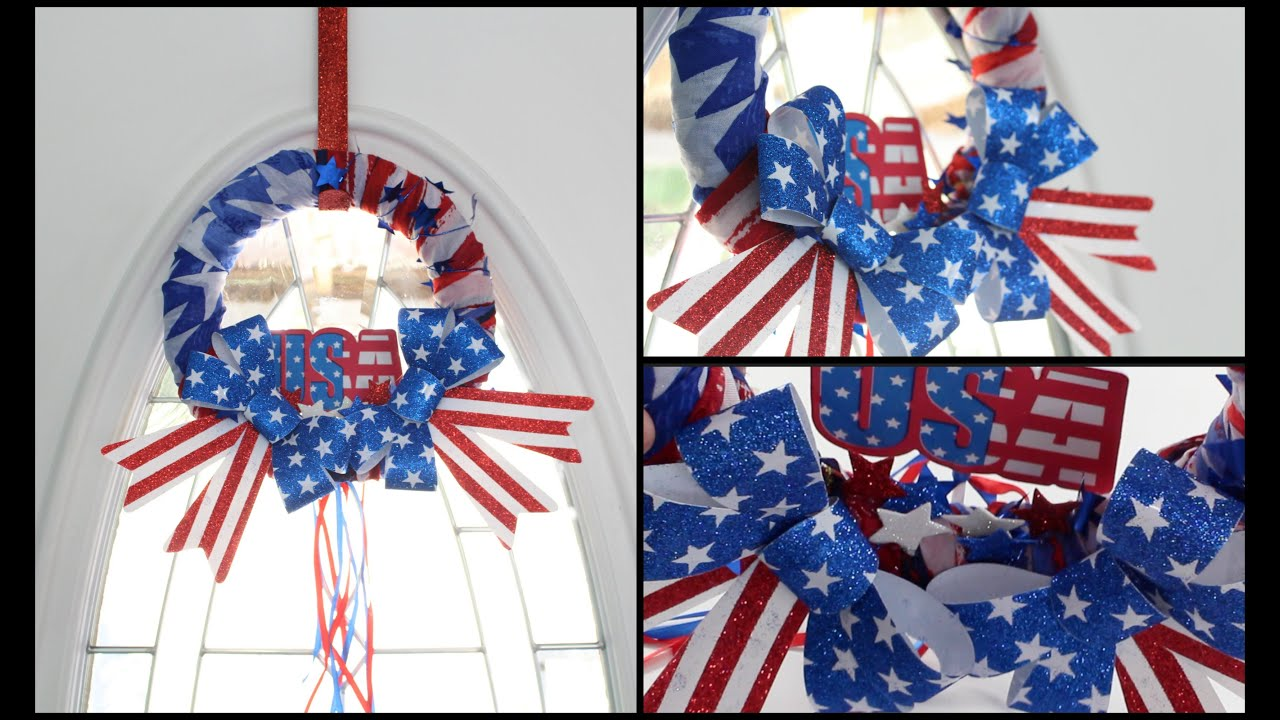 Dollar Tree Diy Perfect For Beginners Patriotic Wreath Youtube