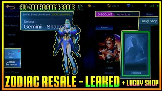All ZODIAC SKIN Resale & Lucky Shop LEAKED in Mobile Legends