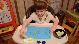 Мастер класс по рисованию. Как научить ребенка рисовать. Развитие творческого мышления - Лика Хурция(Рисуем необычно!!! Стебель сельдерея используем вместо кисточки. Лике на видео 3 года 8 месяцев, и она с легко..., 2016-06-14T09:35:48.000Z)