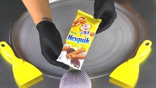 Nesquik Chocolate Ice Cream Rolls | how to make fried Ice Cream with Chocolate & Cookies - Food ASMR