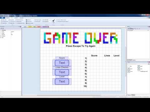 Tetris - Construct 2 - Part 10 - Start, Game Over, Pause Screens