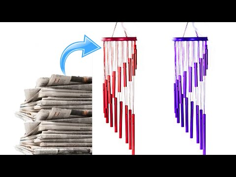 Newspaper wall hanging,Newspaper wind chime, newspaper jhumar, wall hanging, newspaper craft,