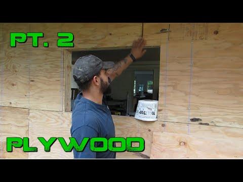 Turning a Carport Into an Enclosed Garage- DIY Plywood Siding Pt. 2