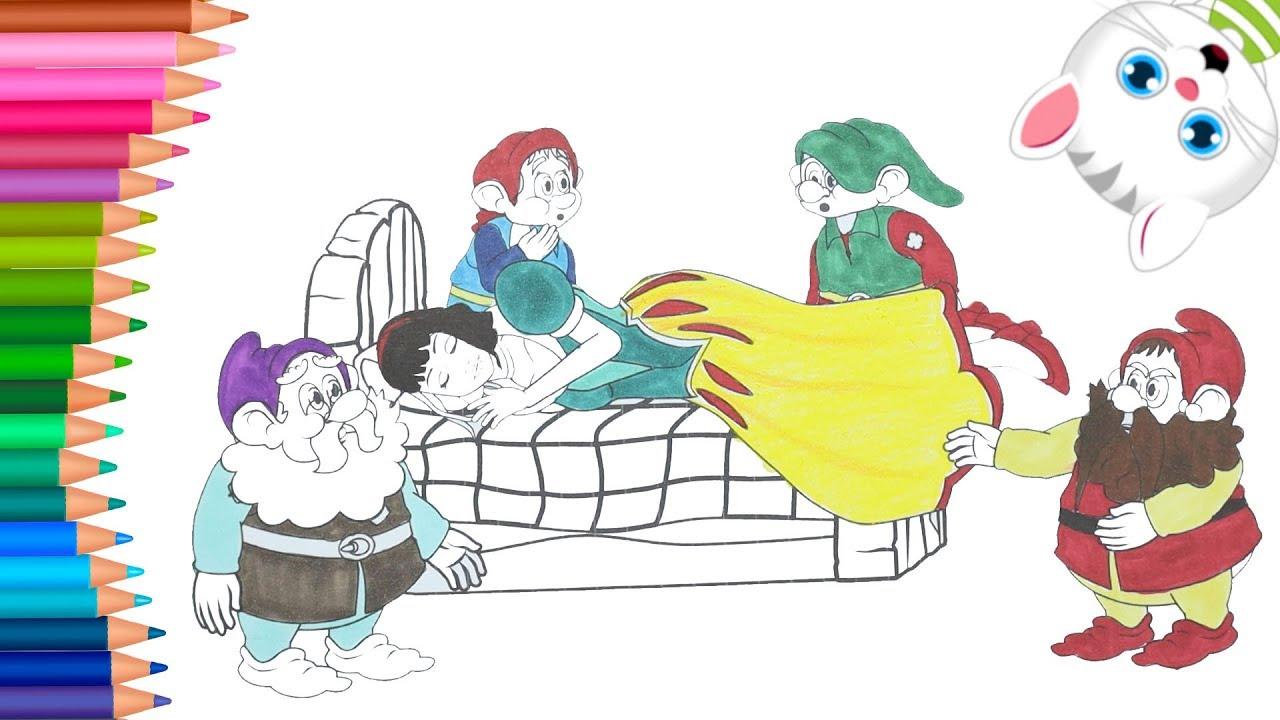 Blancanieves Y Los 7 Enanitos Juego De Pintar Manos Pequeñas Dibujos Para Colorear