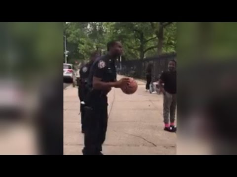 NYPD Police Officer Makes Incredible Basketball Shot
