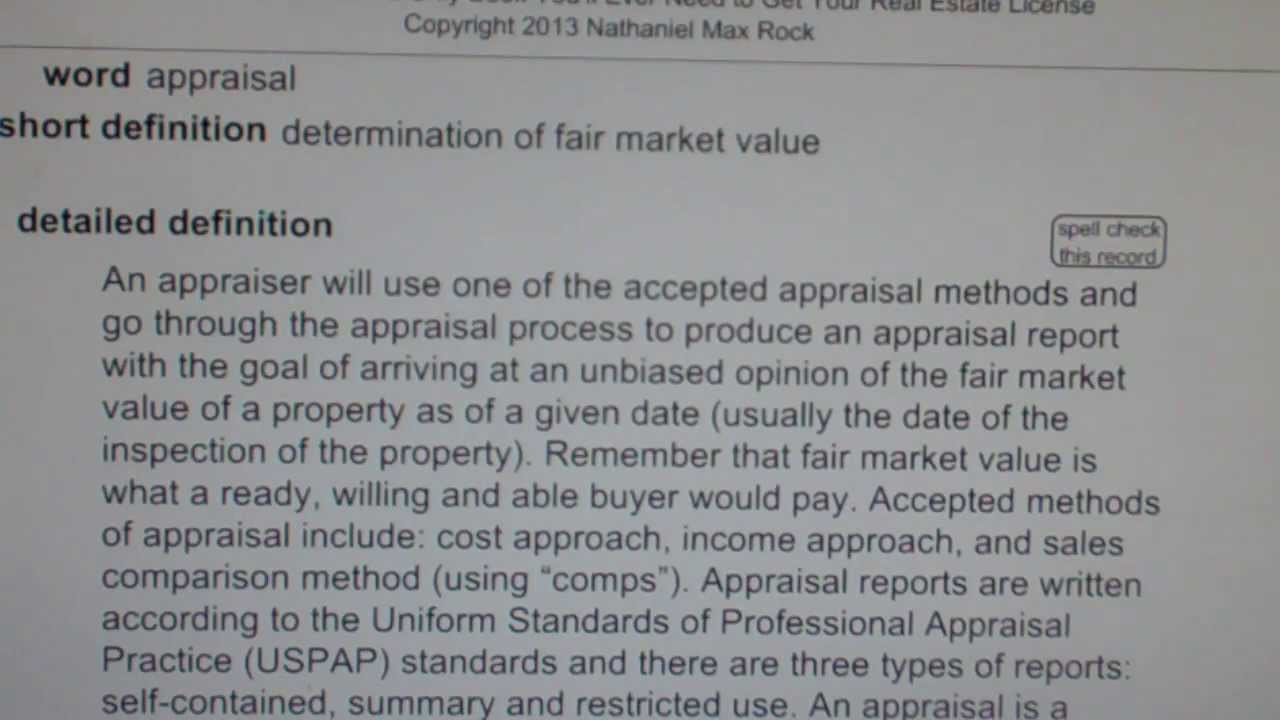 appraisal CA Real Estate License Exam Top Pass Words VocabUBeecom