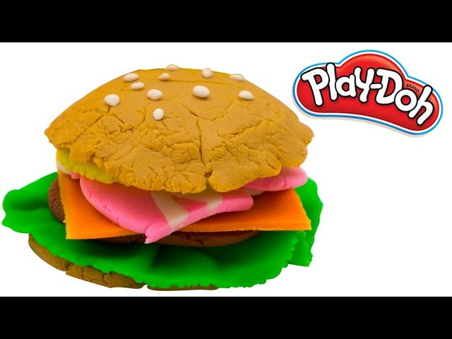 DIY How to make a Play Doh Burger | PlayDoh Kitchen Cooking Ideas