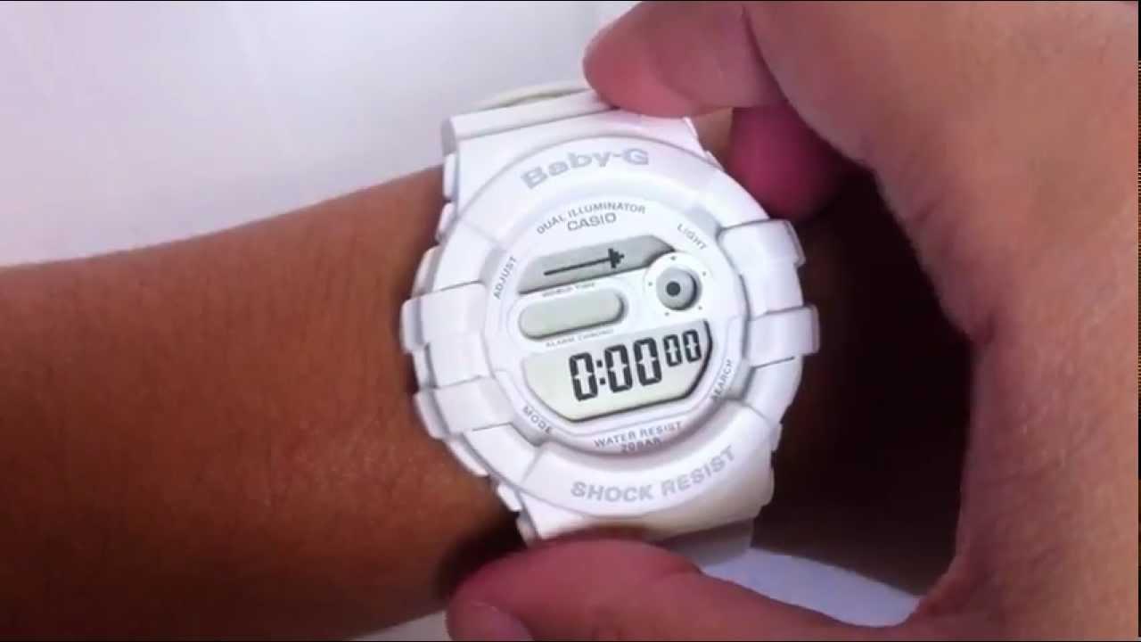 b2138175a293 White Casio Baby-G Digital Watch BGD140-7A - YouTube