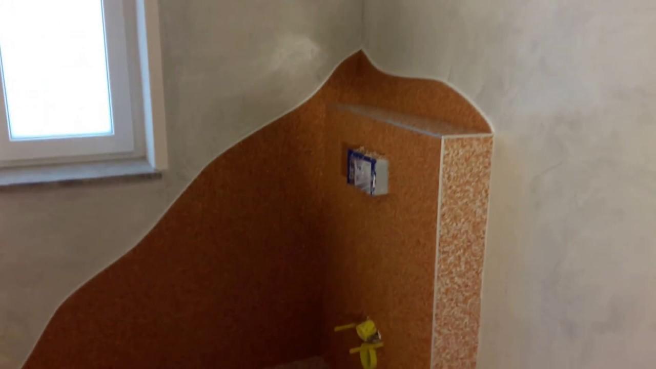 Badezimmer mit natursteinteppich und venezianische - Venezianische spachteltechnik ...