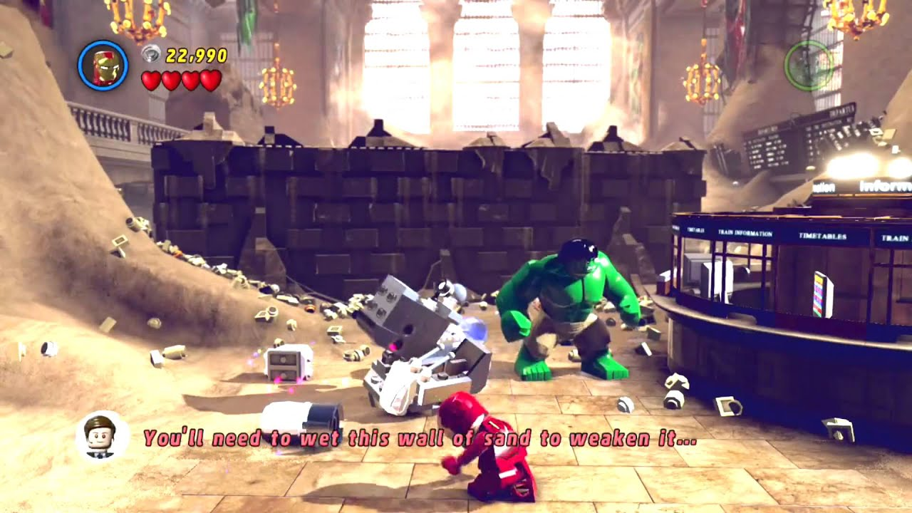 marvel lego wet wall of sand