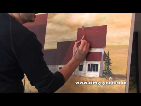 Acrylic Landscape Painting Tips and Tricks - Painting Shingles on a Roof by Tim Gagnon