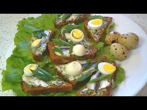 Бутерброды с тюлькой (килькой) / Sandwiches with sprat