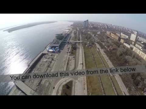 Aerial view of city and waterfront in Volgograd, Russia
