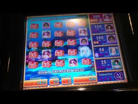 MERMAID'S GOLD Penny Video Slot Machine with aTREASURE CHEST BONUS Las Vegas Strip Casino