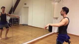 Learn Belly Dance: Bellydance Drop Kick Hagalla Turn Hip for beginners: technique and combinations.