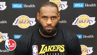 LeBron James talks Lakers' loss, reacts to President Trump's criticism of kneeling | NBA on ESPN