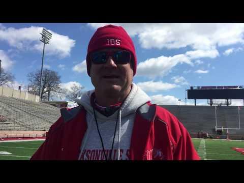 JSU coach John Grass talks first day of full pads in spring practice